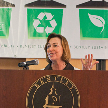 Bentley President Gloria Larson has led a campus-wide commitment to sustainability.