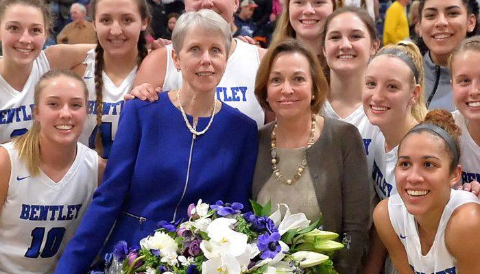 history at bentley: basketball coach barbara stevens wins her 1,000